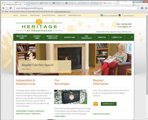 Heritage at Framingham Website